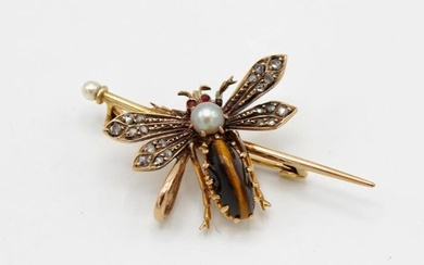 Insect - 18 kt. Gold - Brooch - Diamonds, Rubies