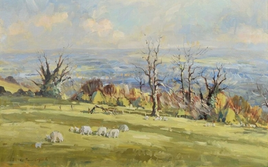 § James Longueville P.S., R.B.S.A. (British 1942-) Rural scene with sheep grazing