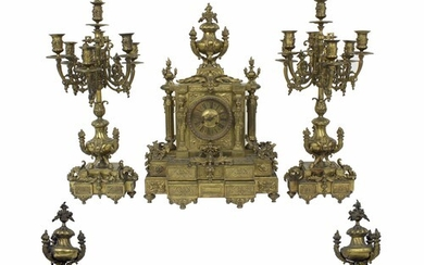 Large and impressive solid French brass two train mantel clo...