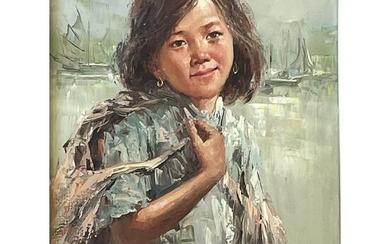 Lee Man Fong, Portrait of Girl, Oil on Canvas