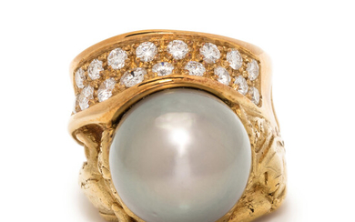 MISANI, CULTURED TAHITIAN PEARL AND DIAMOND RING