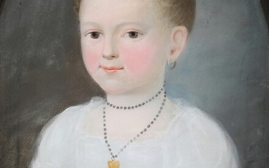 NOT SOLD. Painter unknown, 19th century: Portrait of a girl with her knitting. Unsigned. Pastel on paper. Visible size 38 x 30 cm. – Bruun Rasmussen Auctioneers of Fine Art