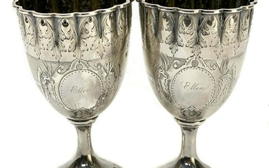 Pair American Coin Silver Scallop Rimmed Goblets