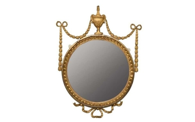 Pair of Adams-style circular gilt gesso wall mirrors, each with circular plates in egg and dart frame and harebell and ribbon swags, 51 x 65cm