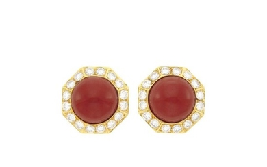 Pair of Gold, Oxblood Coral and Diamond Earrings
