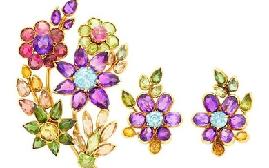 Pair of Gold and Gem-Set Flower Earclips and Bouquet