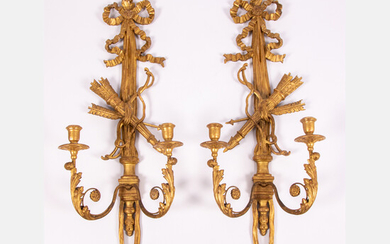 Pair of Louis XV Style Gilt Carved Two Arm Wall Sconce
