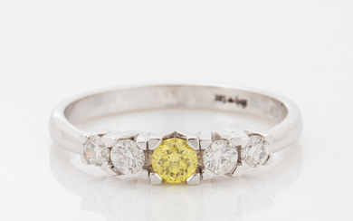 Brilliant-cut colour treated yellow diamond and brilliant-cut diamond ring