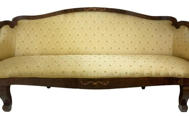 Rosewood sofa with inlays centered on the base of the