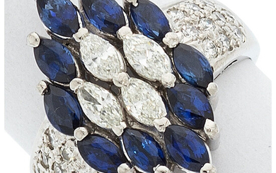 Sapphire, Diamond, Platinum Ring Stones: Marquise-shaped sapphires weighing a...