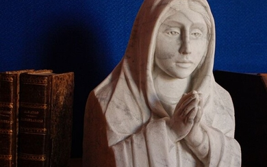 Sculpture of the Virgin Mary - Hand sculpted (1) - White Statuary Marble of Carrara - c.a. 1900