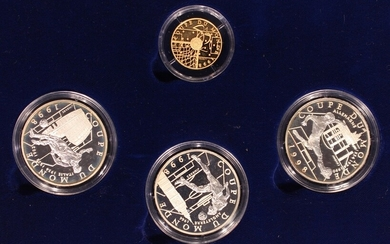 The Official 1998 World Championship of Football Coin Programme, two sets of gold and silver co...