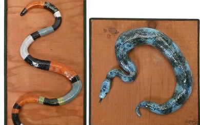 Two Ceramic Snake Sculptures Mounted on Board