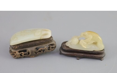 Two Chinese pale celadon jade carvings, 18th/19th century, t...