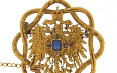 Unmarked gold Polish eagle with crown brooch set with sapphi...