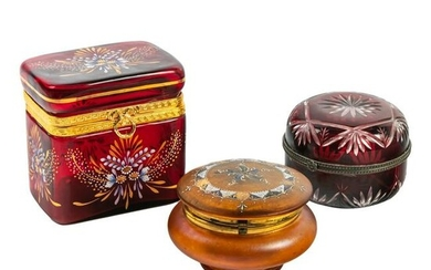 Victorian Style Art Glass Casket and Dresser Boxes
