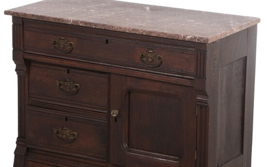 Victorian Walnut and Marble Top Butler's Buffet