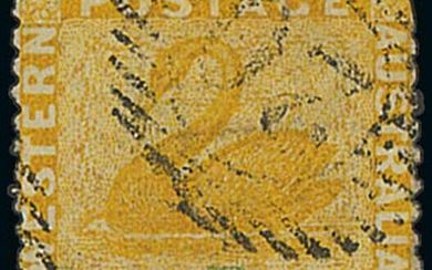 """Western Australia 1874 (Dec.) """"one penny"""" on 2d. yellow, error surcharge triple, some clipped..."""