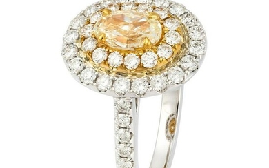 Yellow Diamond White Gold Engagement Ring for Her 18 K