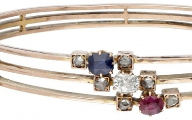 14K. Rose gold antique bangle bracelet set with approx. 0.20 ct. diamond, approx. 0.54 ct....