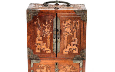 A BOXWOOD INLAID HUANGHUALI TABLE CABINET