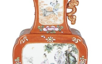 A Chinese porcelain famille rose coral-ground vase, hu, Republic period, painted to the exterior with panels depicting figures in garden scenes, the neck painted to one side with a panel depicting a lady holding a fly whisk, the other side a panel...