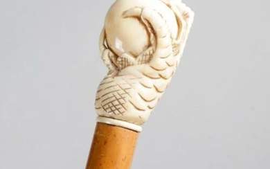 ? A LATE VICTORIAN IVORY HANDLED WALKING CANE C.1880 carved...