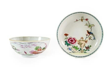 A London Decorated Chinese Porcelain Bowl, mid 18th century, painted...