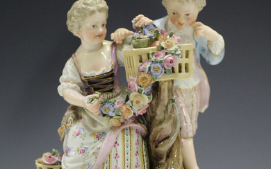 A Meissen figure group emblematic of Spring, late 19th century, modelled after Schönheit as a b