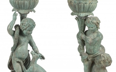 A Near Pair of Italian Pompeian-Style Patinated