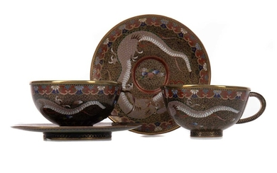 A PAIR OF 20TH CENTURY CHINESE CLOISONNE TEA CUPS AND SAUCERS