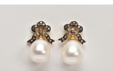 A PAIR OF YELLOW METAL, CULTURED PEARL AND DIAMOND DROP EARR...