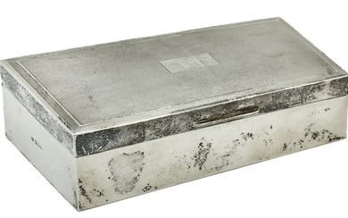 A Silver Cigarette Box by Garrard and Co. Ltd Hallmarked for London 1961, lined in cedar with...