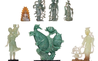 A collection of Chinese semi-precious stone figures, some late Qing,Tallest H 19,5 cm