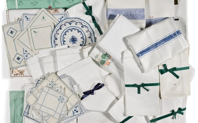 A collection of domestic linen, including Glengall family, damask table cloth and napkins, and other domestic table, hand and kitchen cloths, plate and glass mats, Ireland, 19th-20th century
