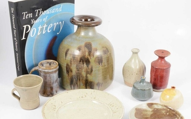 A collection of nine studio pottery items