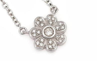 A diamond necklace with a pendant in the shape of a flower set with numerous diamonds weighing a total of app. 0.45 ct., mounted in 18k white gold. – Bruun Rasmussen Auctioneers of Fine Art