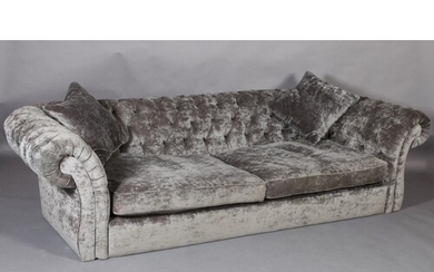A large grey velour button back Chesterfield sofa (no feet),...
