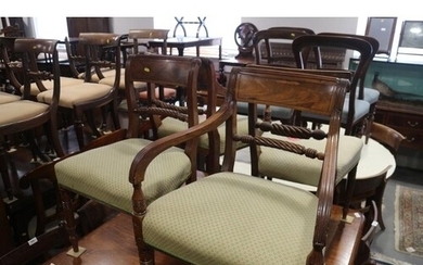 A matched set of eleven Regency mahogany dining chairs (9+2)