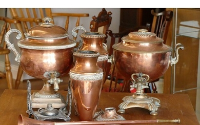 A pair of brass & copper water dispensers, a paid of copper ...