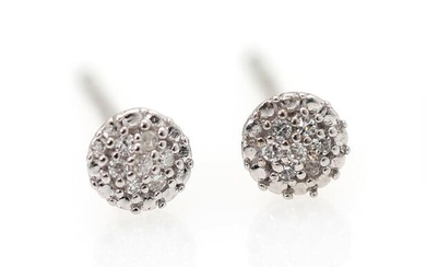 A pair of diamond ear studs each set with numerous single-cut diamonds, mounted in 9k white gold. Diam. 3.5 mm. – Bruun Rasmussen Auctioneers of Fine Art