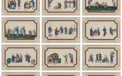 A set of twelve Chinese gouache 'tea production' paintings on pith paper, late 19th century, depicting the various stages of tea production from growing and harvesting to processing and selling, 18x31cm, glazed frames