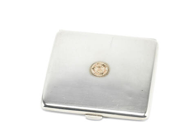 A silver cigarette case with the emblem for His Imperial Japanese Highness Prince Takamatsu (Nobuhito)