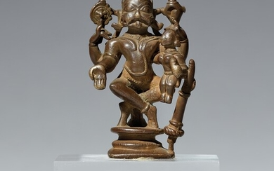 A small South Indian copper alloy figure of Narasimha. Probably 16th century