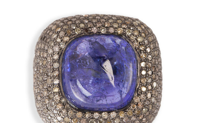 A tanzanite, diamond and sterling silver ring