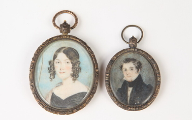 AMERICAN MINIATURE PORTRAIT ARTIST UNKNOWN (early 19th century). HUSBAND AND...