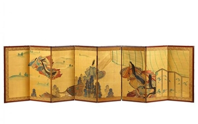 An Eight-Panel Japanese Folding Screen of The Tale of