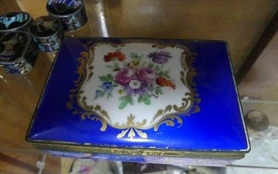 An antique Sevres floral hinged Box, the blue, floral and gi...
