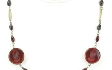 Antique Necklace with Two Intaglio Panels