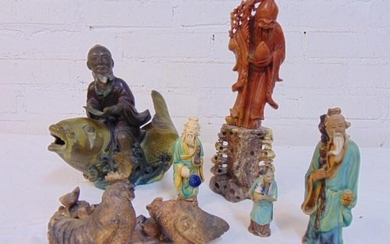 Asian carved stone & mud figures, Chinese, includes